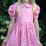 Girls Long Modest Spring Easter Dress with Puffed Sleeves and Peter Pan Collar - Choose Your Size and Fabric