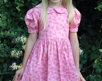 8a0881fb0db Girls Long Modest Spring Easter Dress with Puffed Sleeves and Peter Pan  Collar - Choose Your Size and Fabric