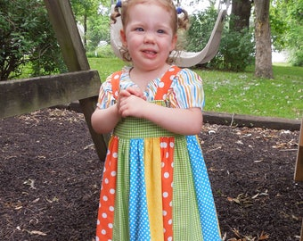 Little Girls Modest Bright Turquoise, Yellow, Orange, and Green Striped Jumper and Peasant Blouse Size 3