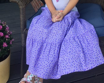 Girls Handmade Modest Mid-Calf Floral 3-Tiered Summer Peasant Skirt - Multiple Sizes and Prints