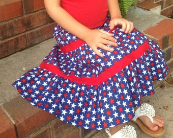 Little Girls Long Modest Red, White, and Blue Patriotic Star Peasant Skirt Size 4