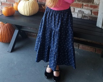 Girls Long Modest Three-Tiered Navy Floral Peasant Skirt Size 8