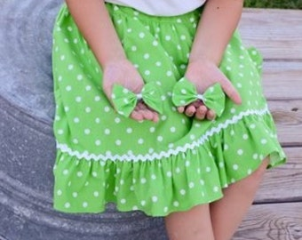 Little Girls' Handmade Modest Knee Length Ruffle Skirt with Sewn in Bloomers - Choose Your Color - Size 3
