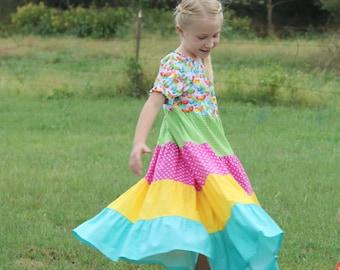 Girls Long Modest Bright Summer Short Sleeve Tiered Butterfly Peasant Dress Size 6