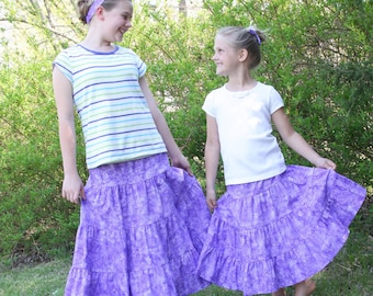 Girls Long Modest Purple Butterfly and Flower Tiered Peasant Prairie Skirt Size 3-12