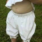 Toddler and Girls Handmade Modesty Knee Length White Cotton Bloomers with Elastic Ruffled Legs - Sizes 12 Months - 8