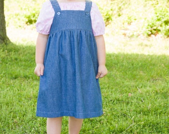 ca94b170a5 Little Girls Handmade Long Modest Blue Jean Denim Overall Jumper Multiple  Sizes