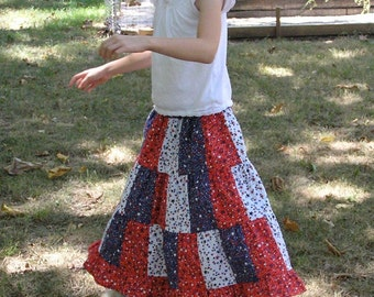 Girls Long  Modest Handmade Patriotic 4th of July  Red, White and Blue Patchwork Ruffled Twirl Skirt Size 3-12
