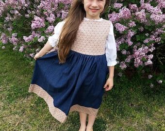 Girls Long Modest Khaki Floral and Denim Classic Front Button Jumper Size 5