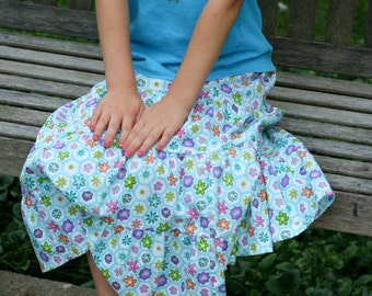 Little Girls Handmade Modest Teal and White Tiered Peasant Skirt with Bright Flowers Size 4/5