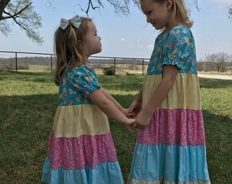 Girls Long Modest Short Sleeve Pink, Turquoise, and Yellow Butterfly Tiered Spring Easter Ruffled Peasant Dresses