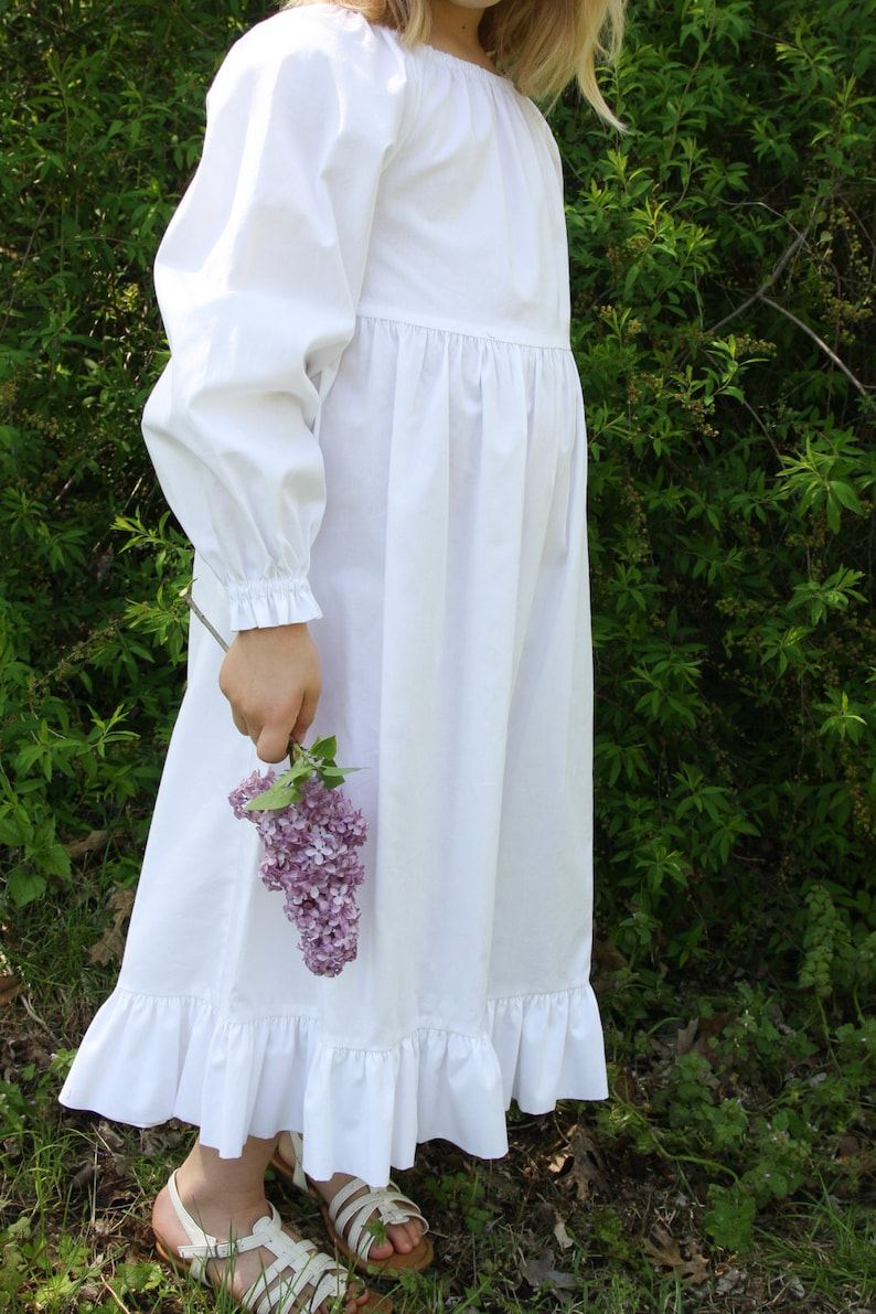 15a10febb Girls Handmade Long Classic White Cotton Long Sleeve Peasant