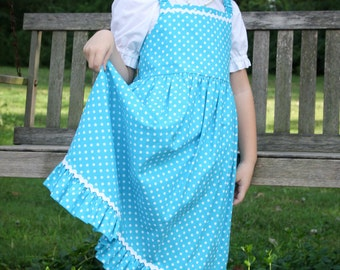 Little Girls Modest Turquoise and White Polka Dot Ruffle Jumper with Rick Rack Trim Size 5