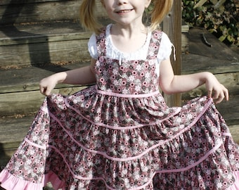 Little Girls Long Modest Pink and Brown Floral Tiered Ruffled Twirly Jumper Size 4
