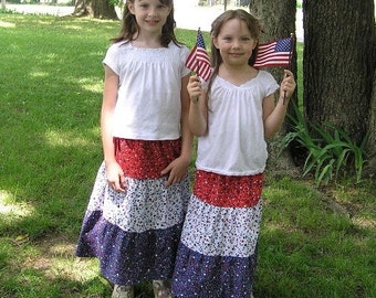 Girl's Modest Handmade Red White and Blue Patriotic Tiered 4th of July Peasant Skirt Size 3-8