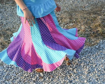 Girls Long Handmade Bright Mulit-Colored Polka Dot Swirly Twirl Skirt Size 7