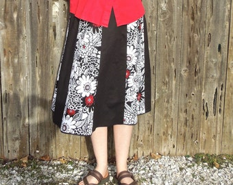 Women's Handmade Knee Length Black, White, and Red A-line Skirt Size 10/12