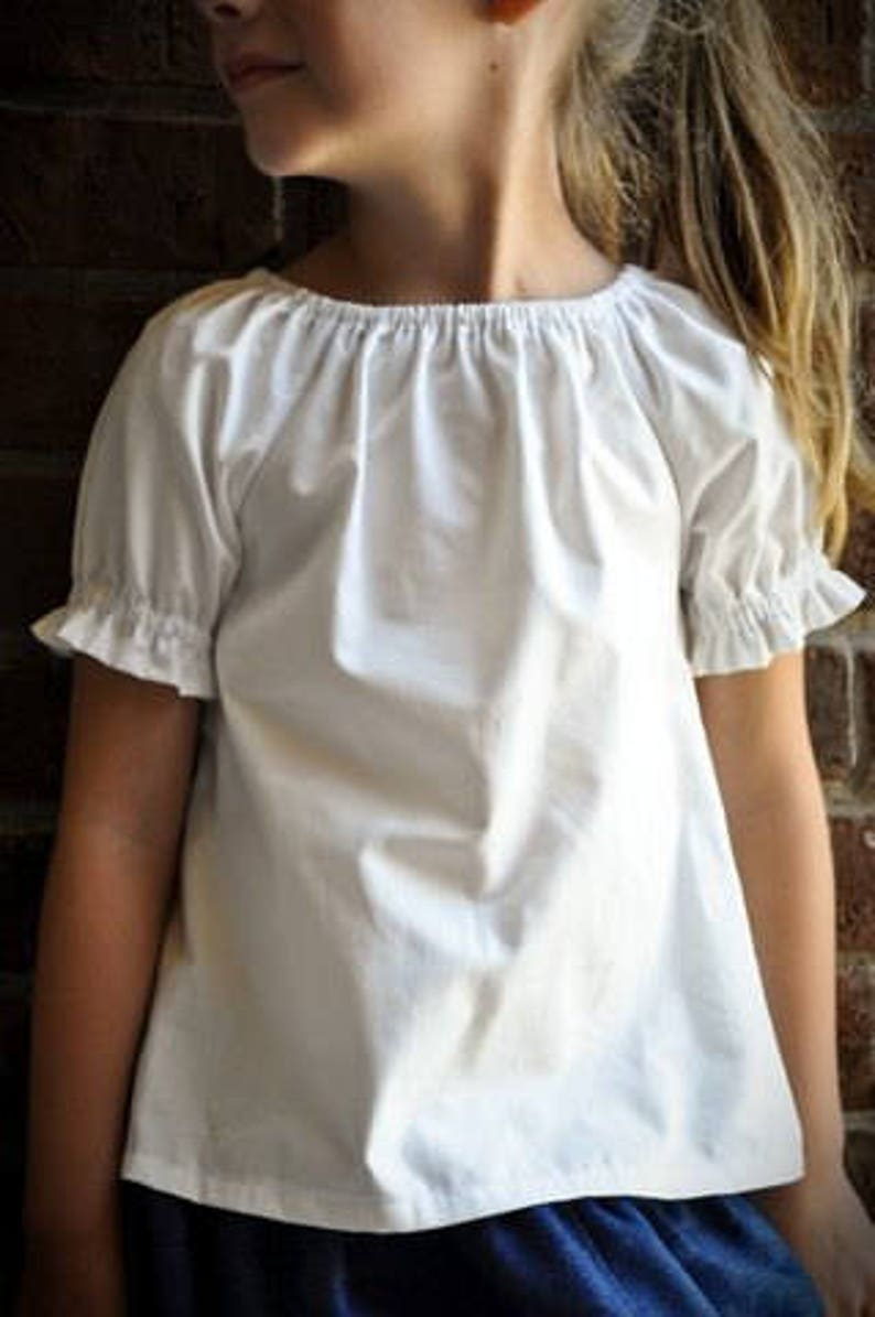 18c3ebdb6 Baby Toddler and Girls Classic Handmade White Cotton Peasant Blouses ...