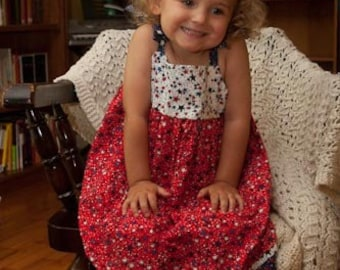 Toddler or Little Girls Red, White and Blue 4th of July Star Spangled Sundress - Size 12 Months - 4