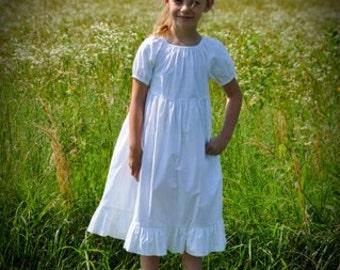 Girls Long Modest Easter Special Occasion Handmade White Cotton Short Sleeve Ruffled Peasant Dress Size 2-8