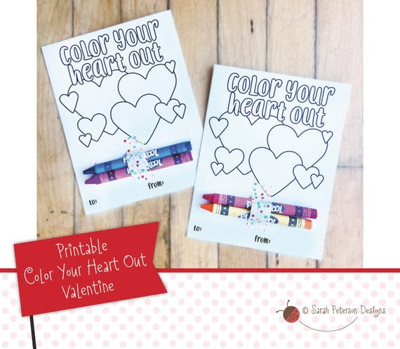 Printable Color Your Heart Out Diy Crayon Coloring Page Etsy