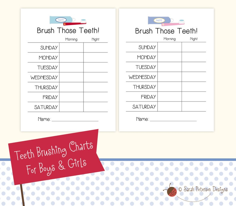 Teeth Brushing Charts For Boys And Girls Instant Download Etsy