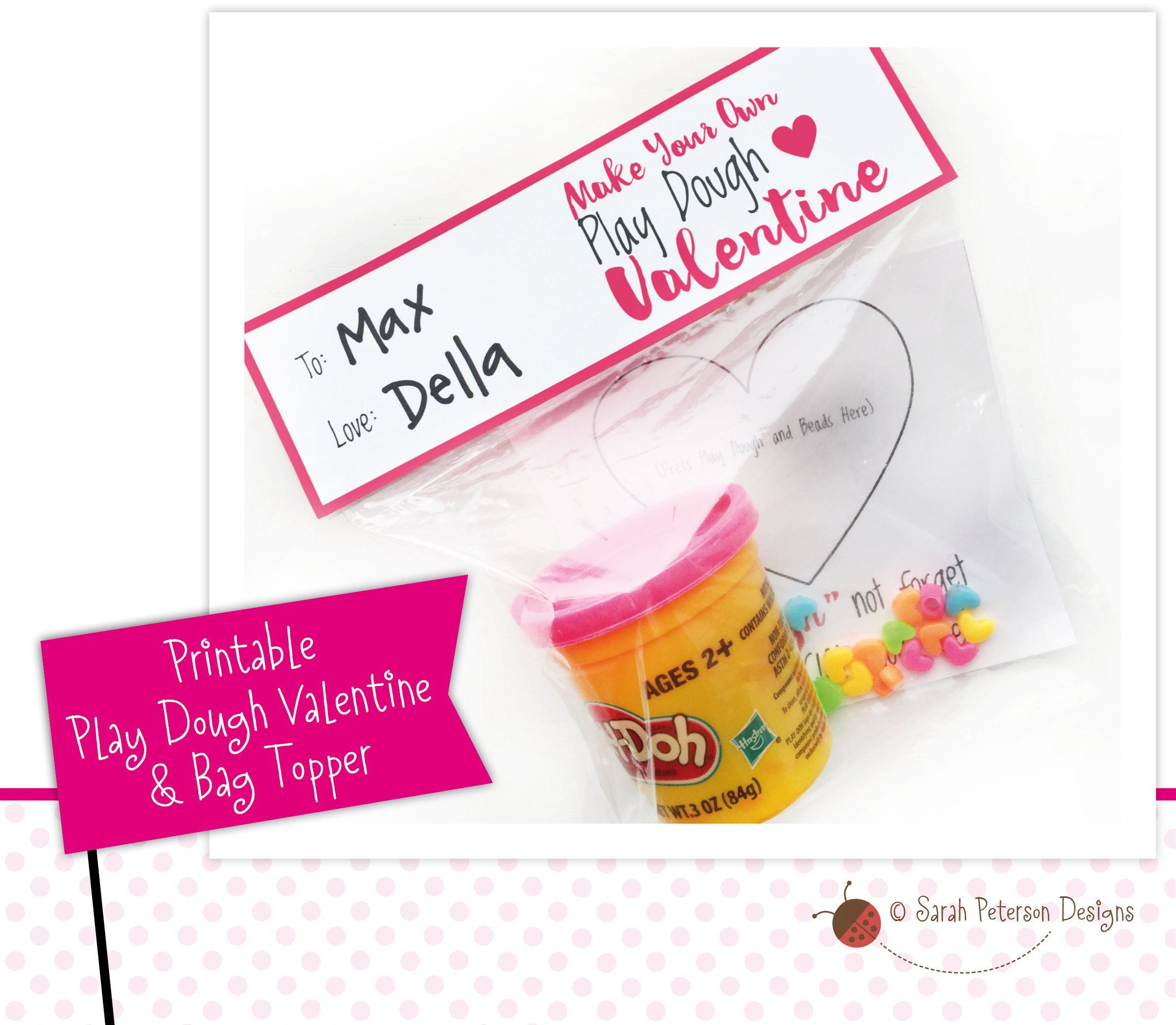 image about Play Doh Valentine Printable referred to as PRINTABLE - Participate in Dough Valentine Recreation Desire Bag Topper - Immediate Obtain