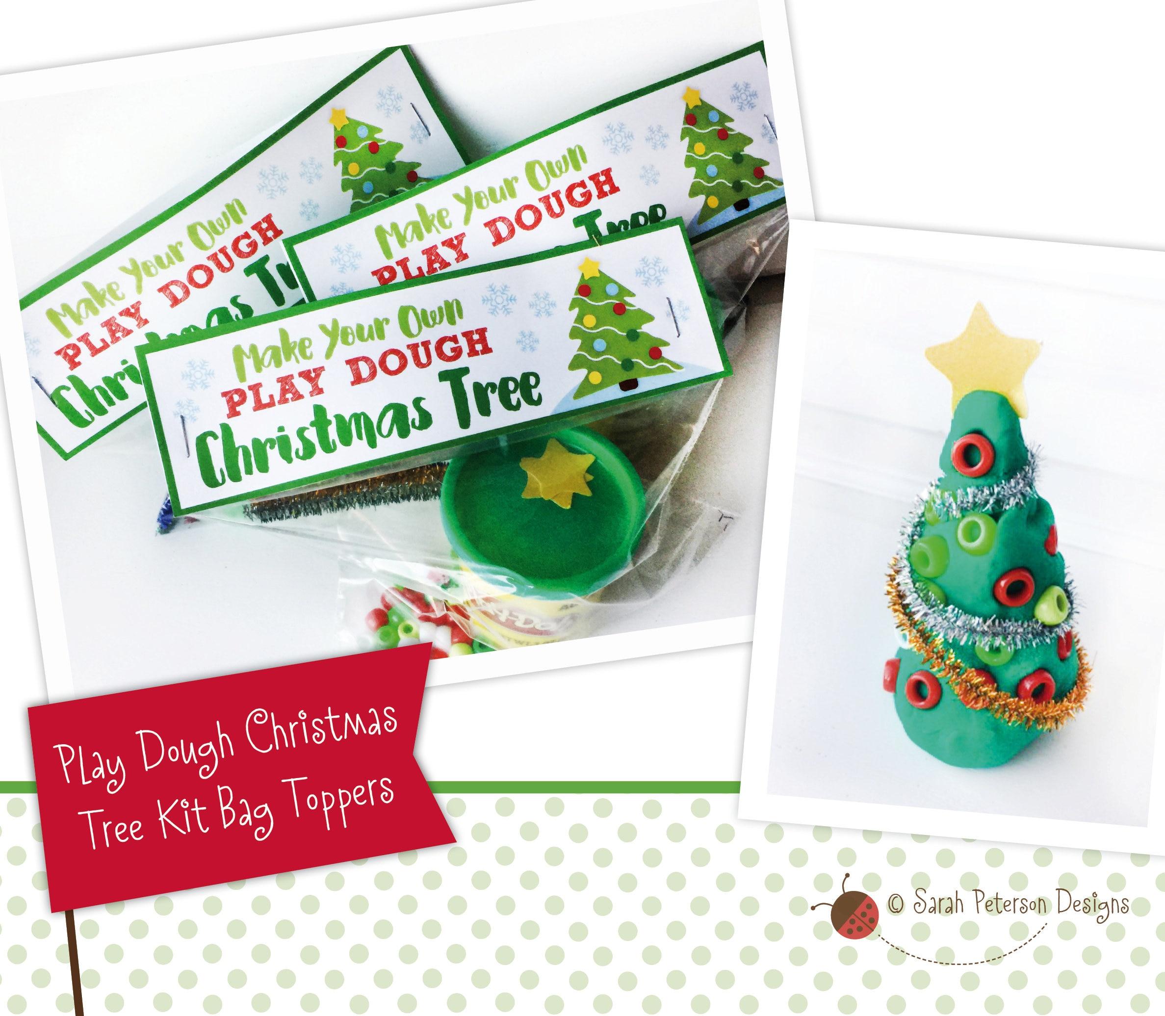 Poem About A Christmas Tree: PRINTABLE Play Dough Christmas Tree Kit Bag Toppers