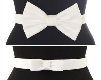 Cotton Bow Belts | 7 COLORS | 2 STYLES | Red Belt | Black Belt | Blue Belt | Bow Belt | Pin Up | Vintage | White Bow Belt