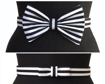 Signature Black & White Bow Belt | 2 STYLES | Black and White Belt | Stripped Belt | Paris | Designer Belt