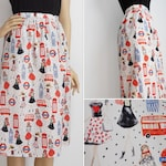 S - London Girl Skirt | Printed Skirt | London | Novelty Print Skirt | Cotton Skirt | Vintage Skirt