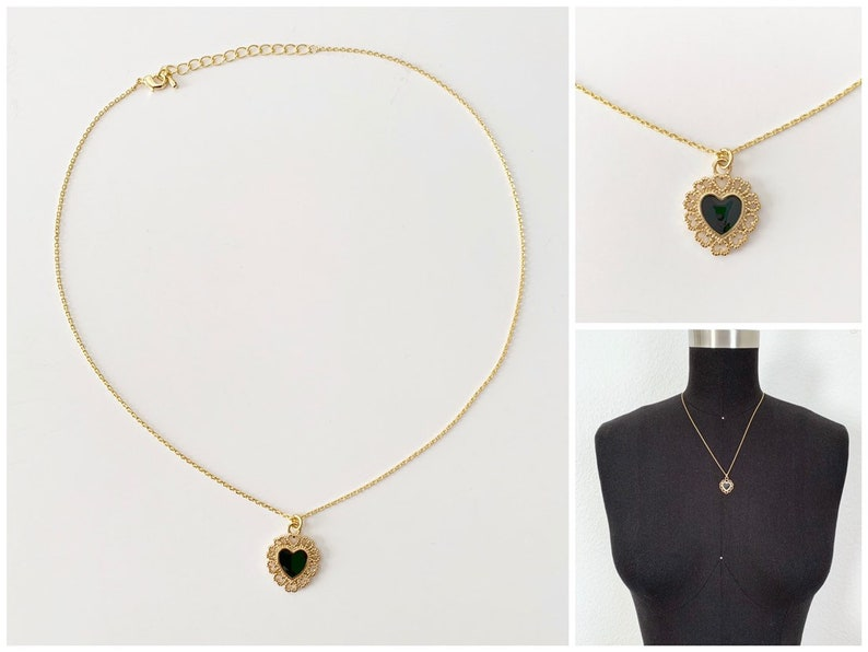 Black Heart Necklace  16k Gold Plated  Heart Necklace  image 0