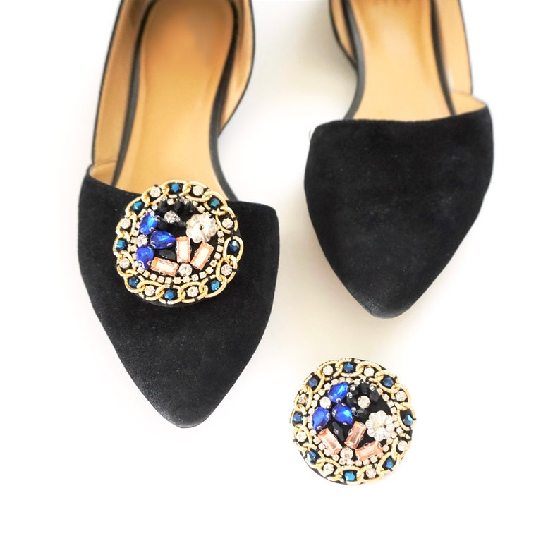 Chains & Jewels Shoe Clips  Round Shoe Clips  One of a kind image 0