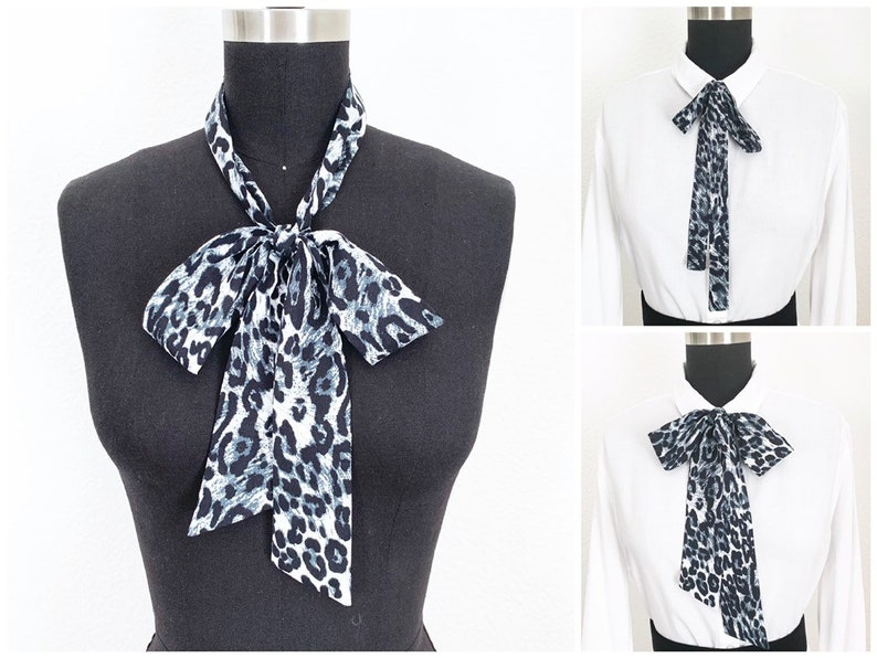 Animal Print Bow Scarves  2 Styles  Bow Scarf  Head Scarf  image 0