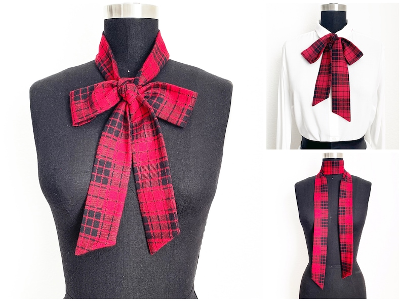 Plaid Flannel Bow Scarf  Warm Scarf  Plaid Scarf  Flannel image 0
