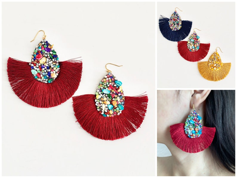 Cha Cha Earrings  3 Colors  Statement Earrings  Evening image 0