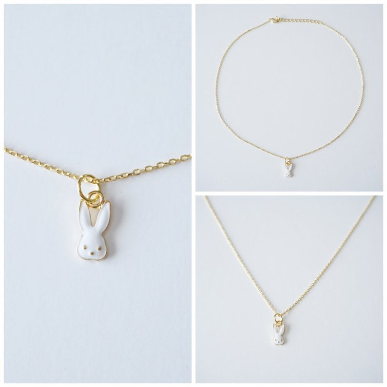 Bunny Necklace  Gold Necklaces  Easter gift  Easter image 0