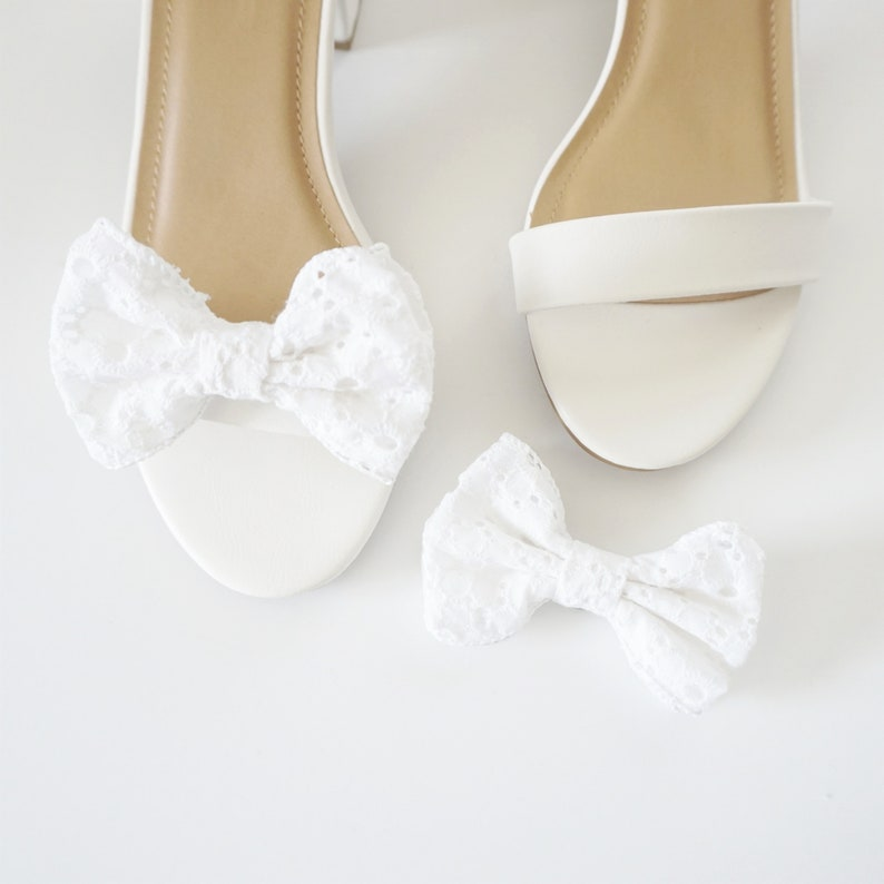 Mini Eyelet Bow Shoe Clips  Lace Shoe Clips  Gifts for her image 0