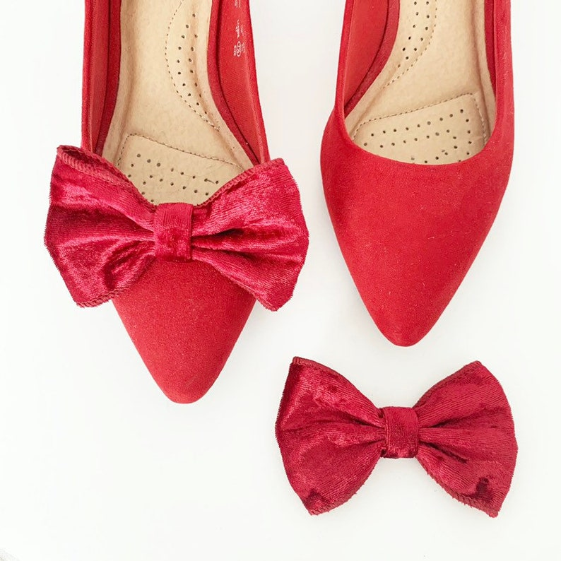 Velvety Shoe Clips  Bow Clips  Red Shoe Clips  Formal Shoe image 0