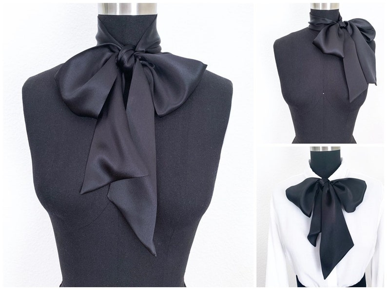 Big Silk Bow Scarf  Bow Scarf  Pussy Bow  Head Scarf  More image 0