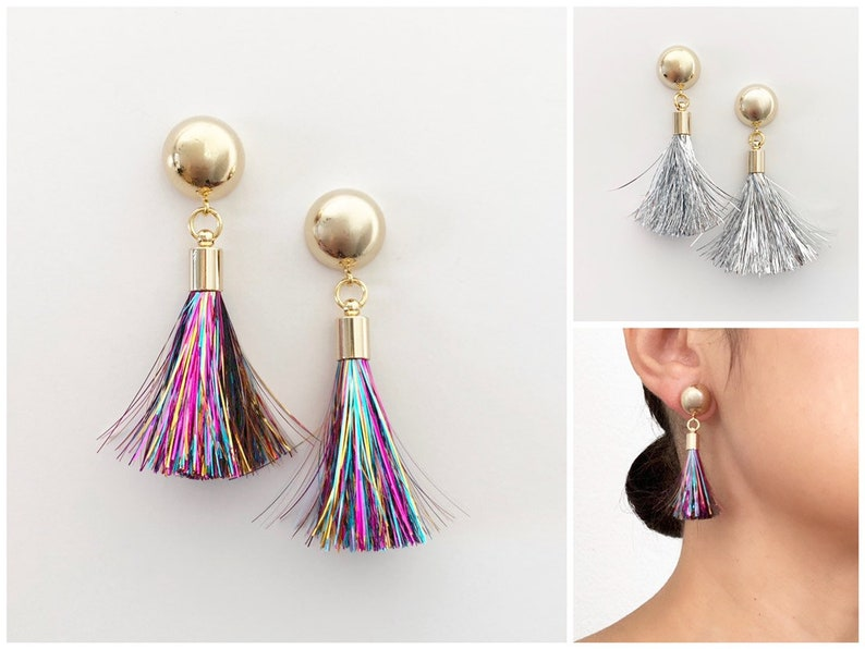Tinsel Tassel Earrings  16k Gold Earrings  Birthday Gift  image 0