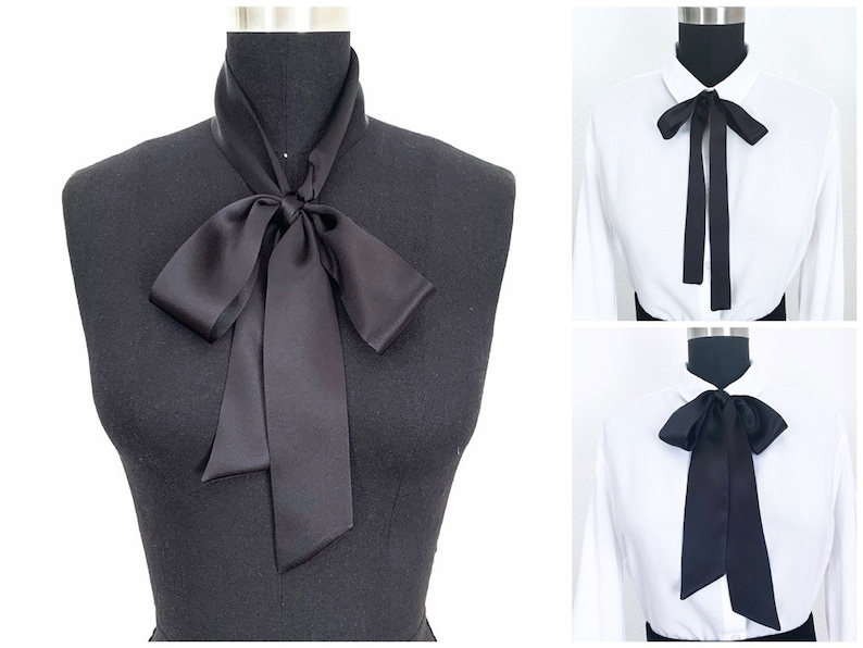 Silk Bow Scarves  2 Styles  Bow Scarf  Pussy Bow  Head image 0