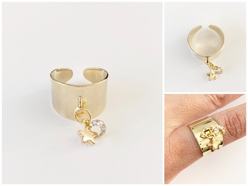 Moon and Stars Ring  Cuff Ring  Gold Ring  Adjustable Ring image 0