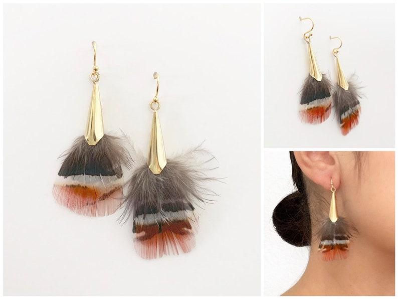 Feather Earrings  Boho Earrings  Gold Earrings  Gifts for image 0