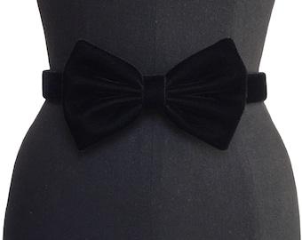 Velvet Bow Belt  | 3 COLORS | Black Velvet Belt | Velvet Belt | Designer Belt | Bow Belt | Vintage Belt | Bridal Belt
