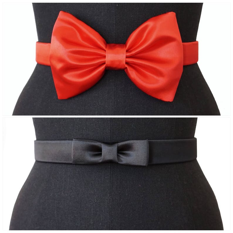 Satin Bow Belts  2 STYLES  3 COLORS  Evening belt  Bridal image 0