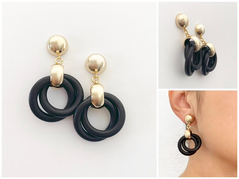 Manhattan Earrings  16k Gold  Black Earrings  Wood Earrings image 0