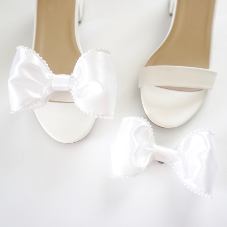 Satin & Pearl Shoe Clips  Bow Shoe Clips  Bridal Accessories image 0