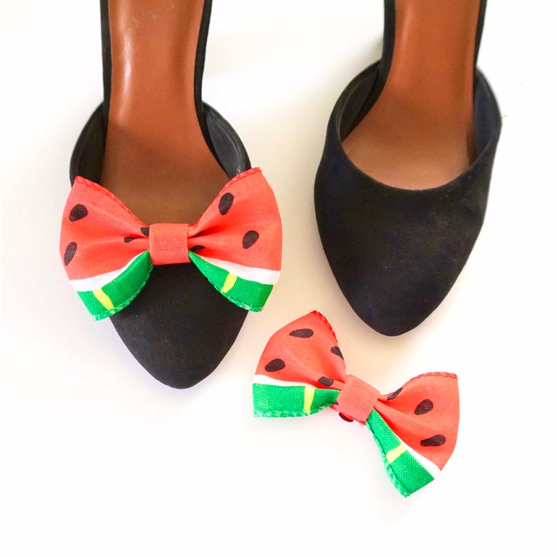 Mini Watermelon Bow Shoe Clips  Bow Shoe Clips  Shoe image 0