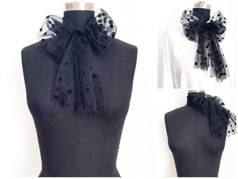 Polka Dotted Tulle Bow Scarf  Tulle Scarf  Neck Scarf  image 0